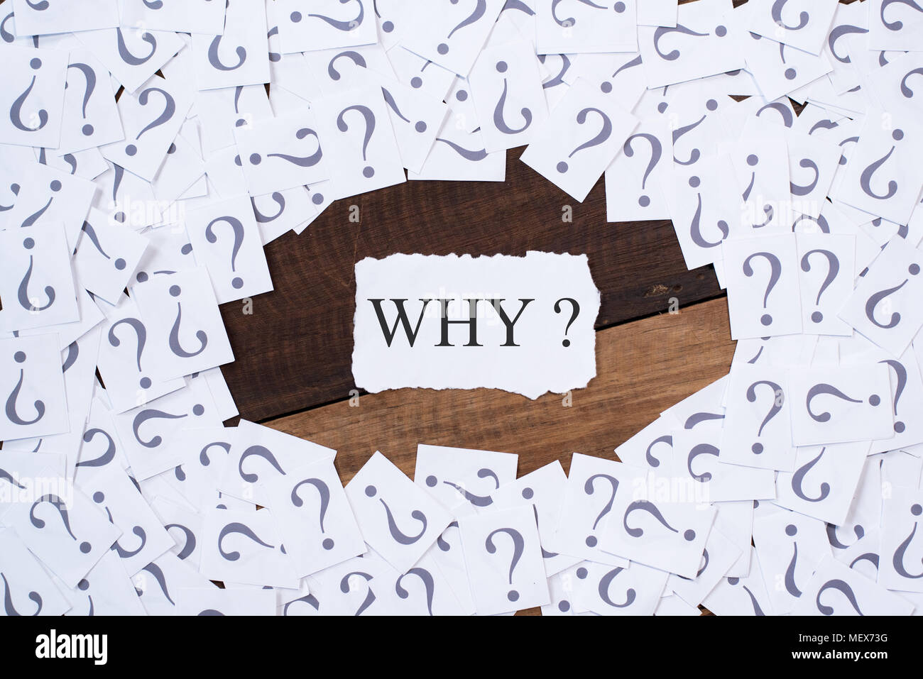 white paper note with question mark and word WHY in the center on wooden table. why concept background - Stock Image