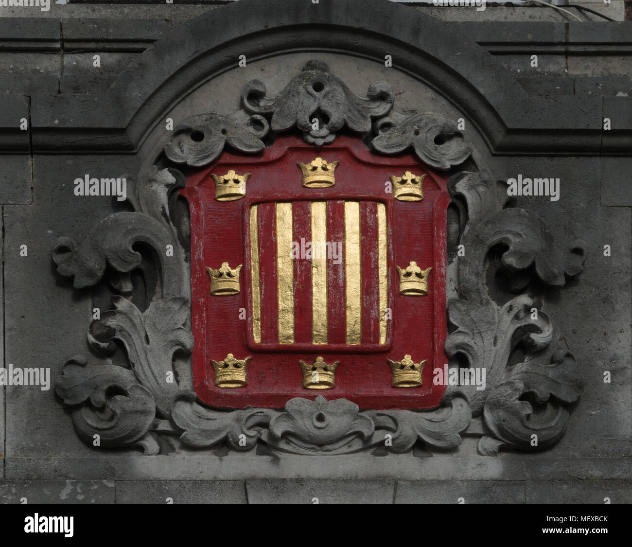 Crest or Coat of Arms over Peterhouse College, Cambridge University - Stock Image