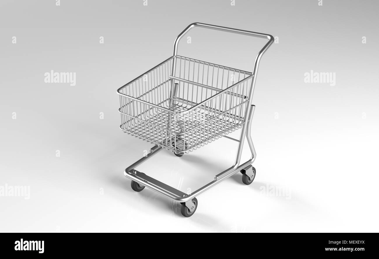 3d rendering of realistic supermarket metal shopping cart on white