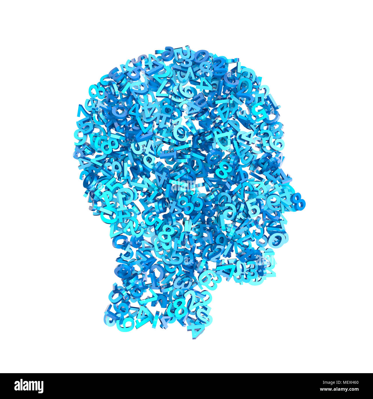 3d rendering image of humand head made with numbers - Stock Image