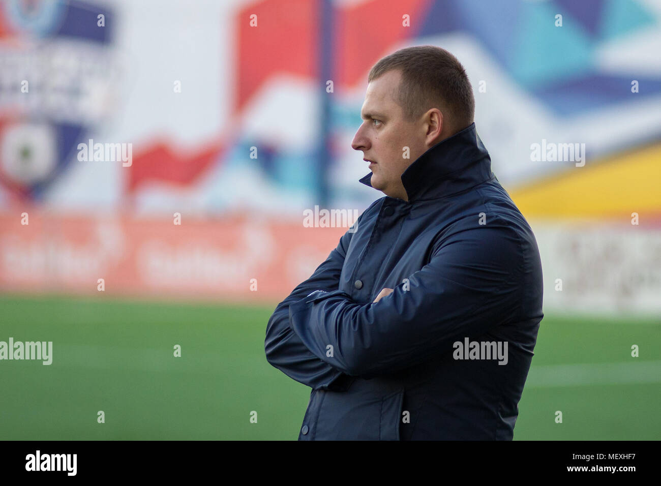 MINSK, BELARUS - APRIL 7, 2018: Vitaly Zhukovsky, head coach of FC Isloch looks during the Belarusian Premier League football match between FC Dynamo Minsk and FC Isloch at the FC Minsk Stadium. - Stock Image