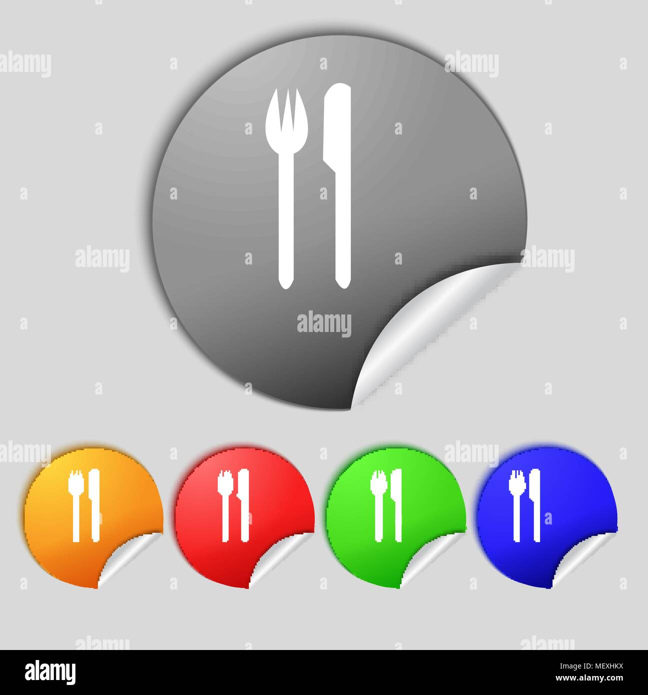 Eat Sign Icon Cutlery Symbol Fork And Knife Set Colourful Buttons