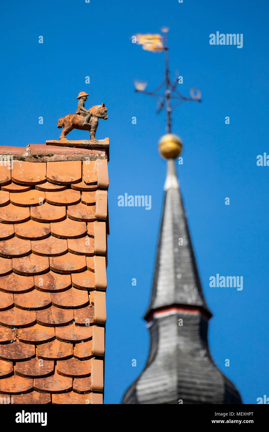 horseman figure on a roof in historic town centre of Büdingen, Hesse, Germany, Europe Stock Photo
