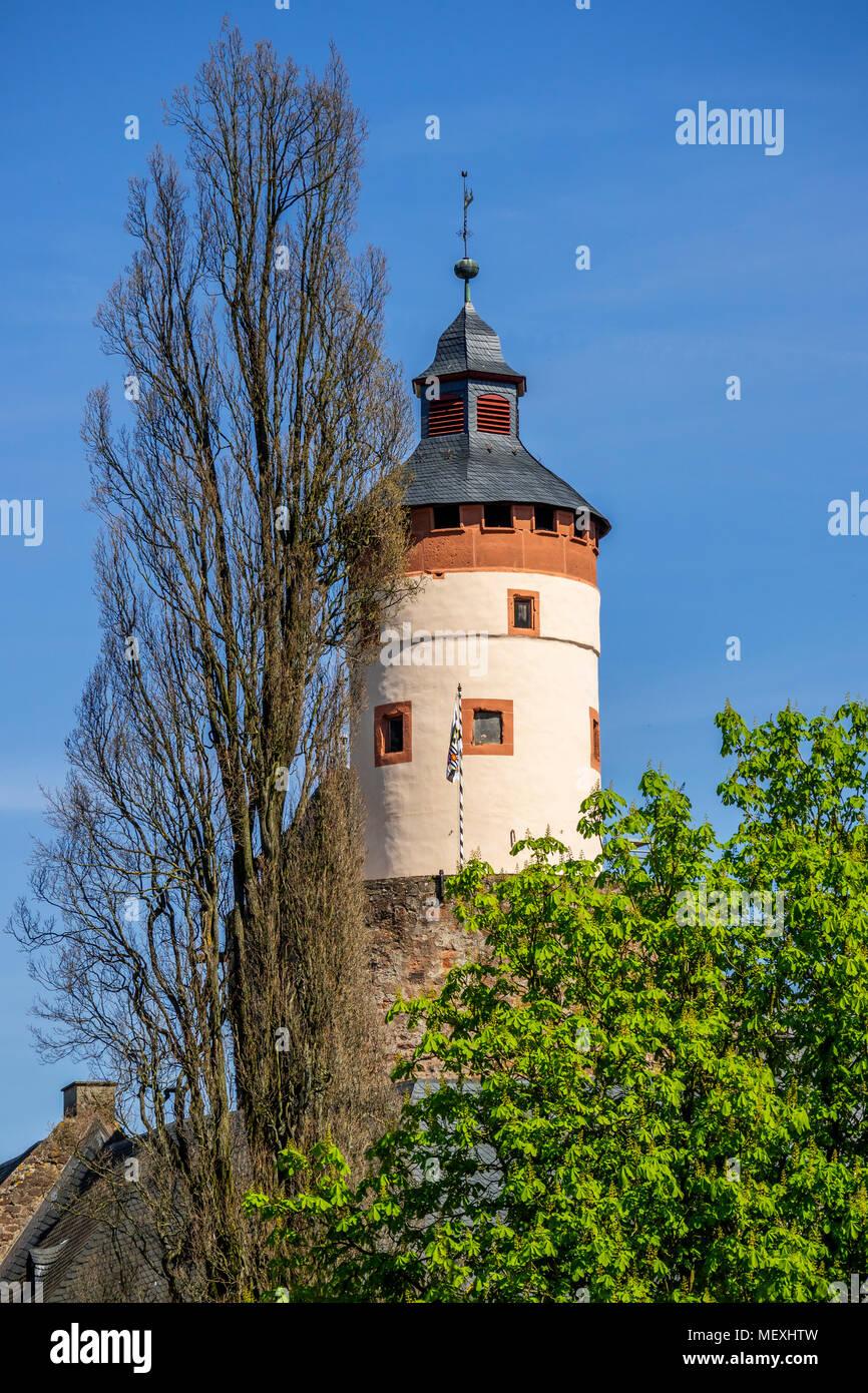 bergfried of Büdingen Castle in Büdingen, Hesse, Germany, Europe Stock Photo