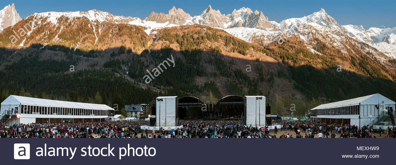 Sunset over MUSILAC Mont-Blanc festival in Chamonix (France) - 21 april 2018 - Stock Image