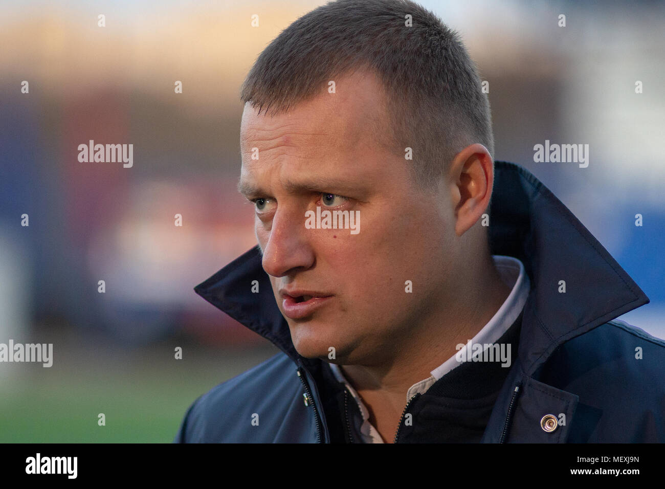 MINSK, BELARUS - APRIL 7, 2018: Vitaly Zhukovsky, head coach of FC Isloch gives an interview after the Belarusian Premier League football match between FC Dynamo Minsk and FC Isloch at the FC Minsk Stadium. - Stock Image