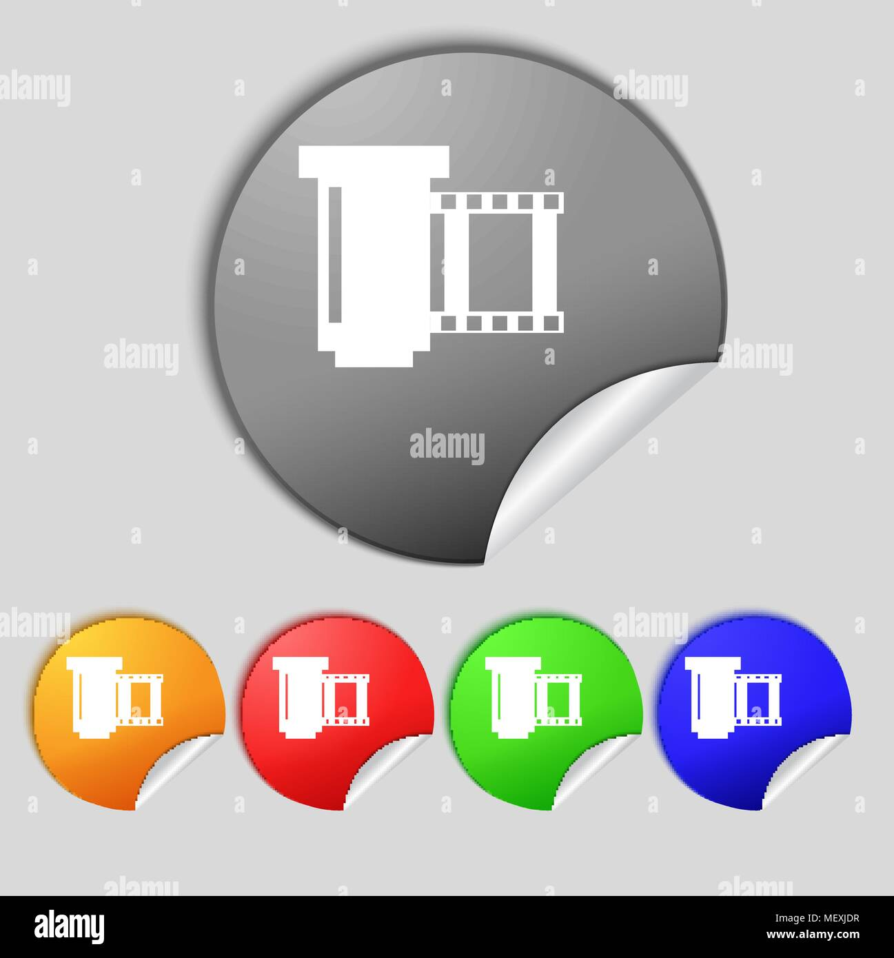 negative films icon symbol. Set of colourful buttons. Vector illustration Stock Vector