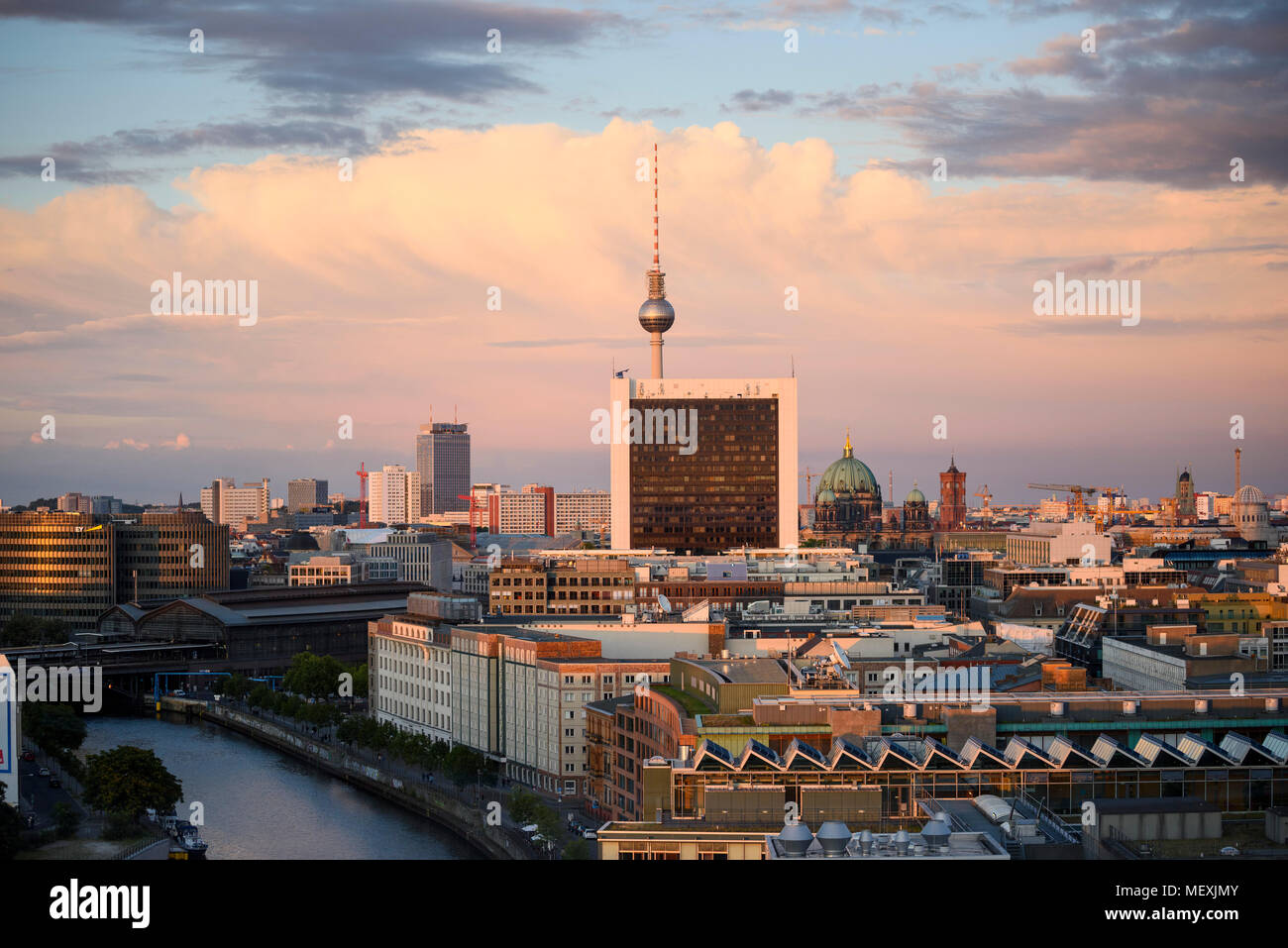 Berlin. Germany. View looking east of the Berlin skyline from the Reichstag dome towards the Fernsehturm (TV tower) on Alexanderplatz, Mitte. The view - Stock Image