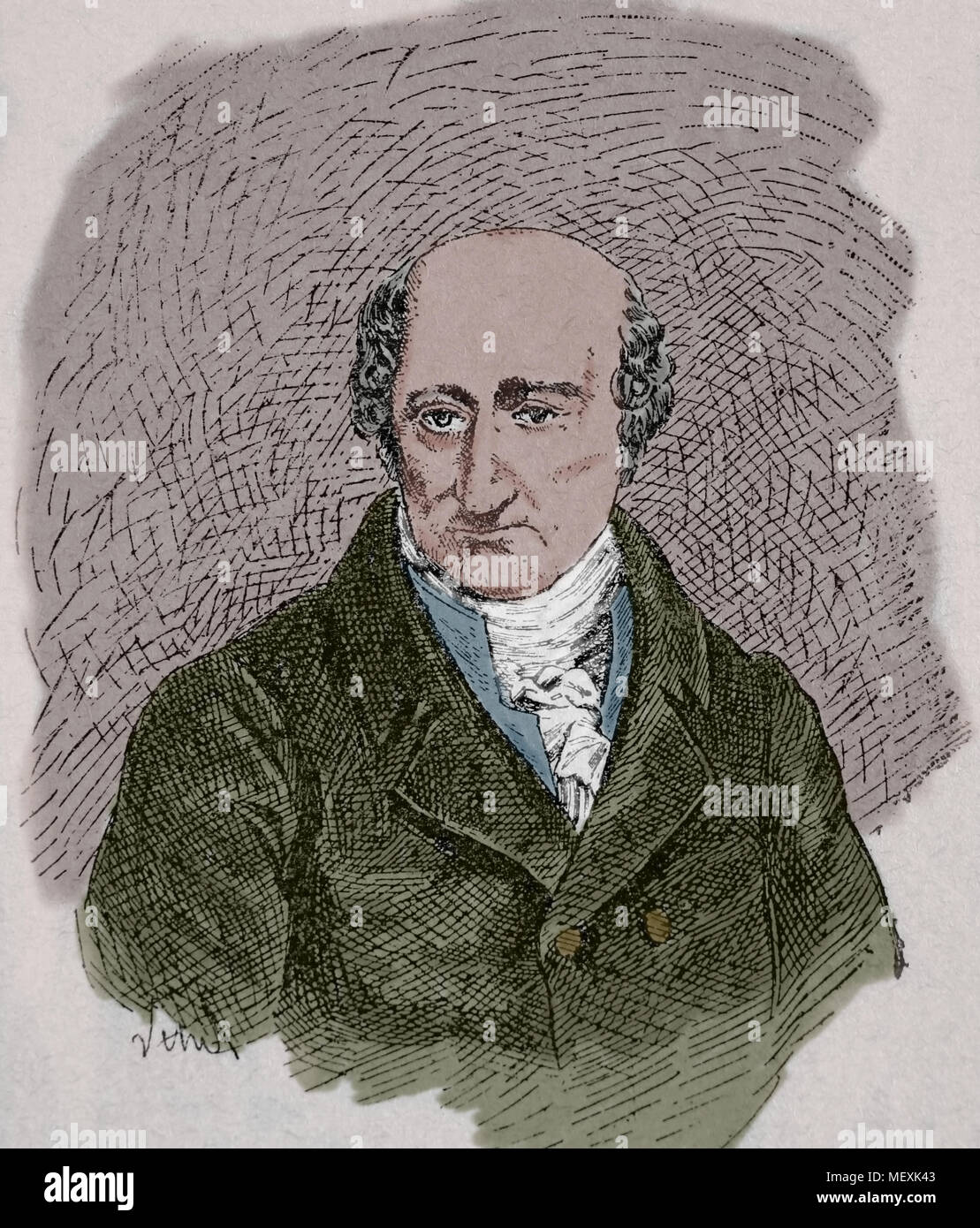 Baron vom Stein (1757-1831). Prussian statesman. Engraving, portrait. Color. 19th century. - Stock Image