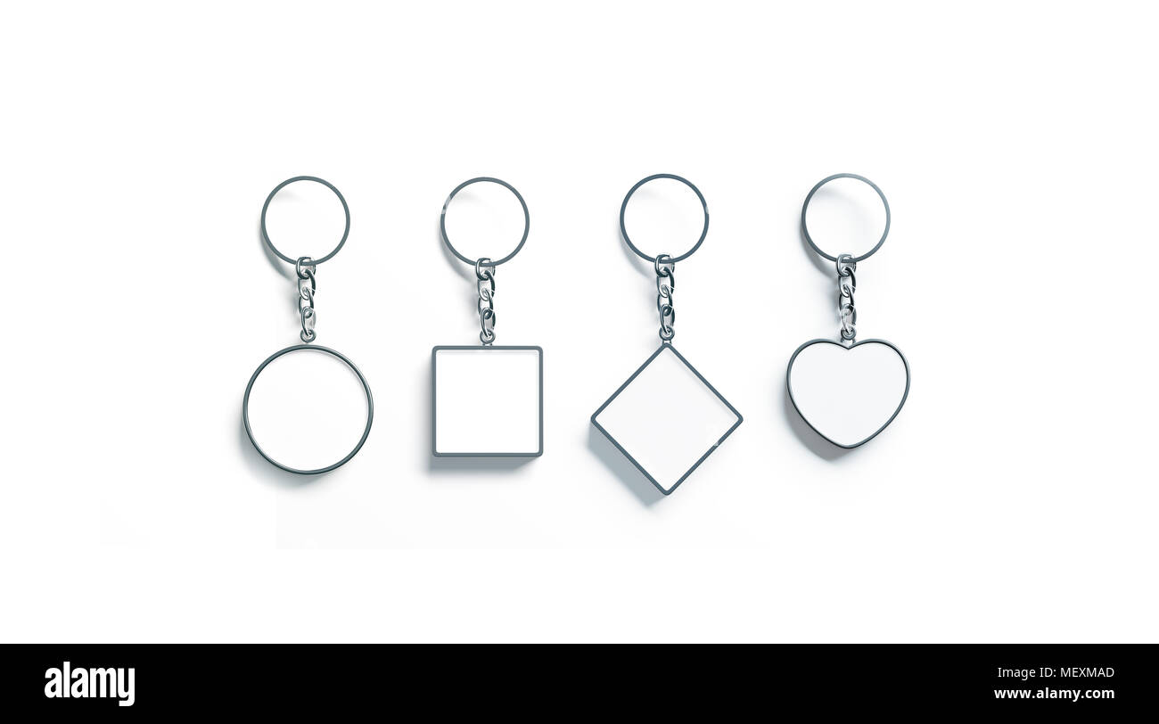 Blank silver key chain mock up top view set 3d rendering clear blank silver key chain mock up top view set 3d rendering clear silvery circular square rhombus heart keychain design mockup isolated empty plain ke ccuart