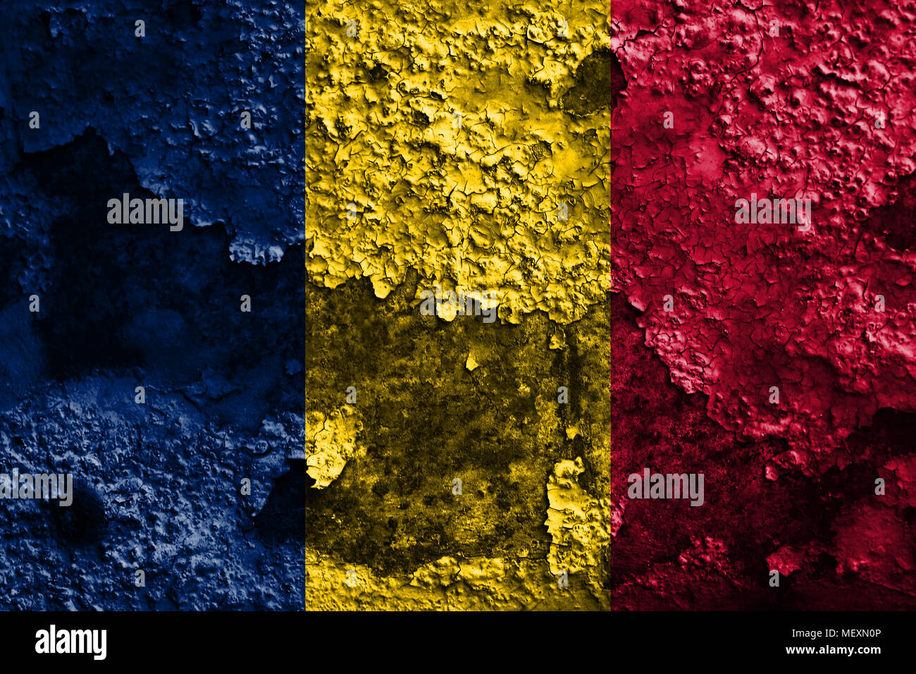 Old Chad grunge background flag - Stock Image