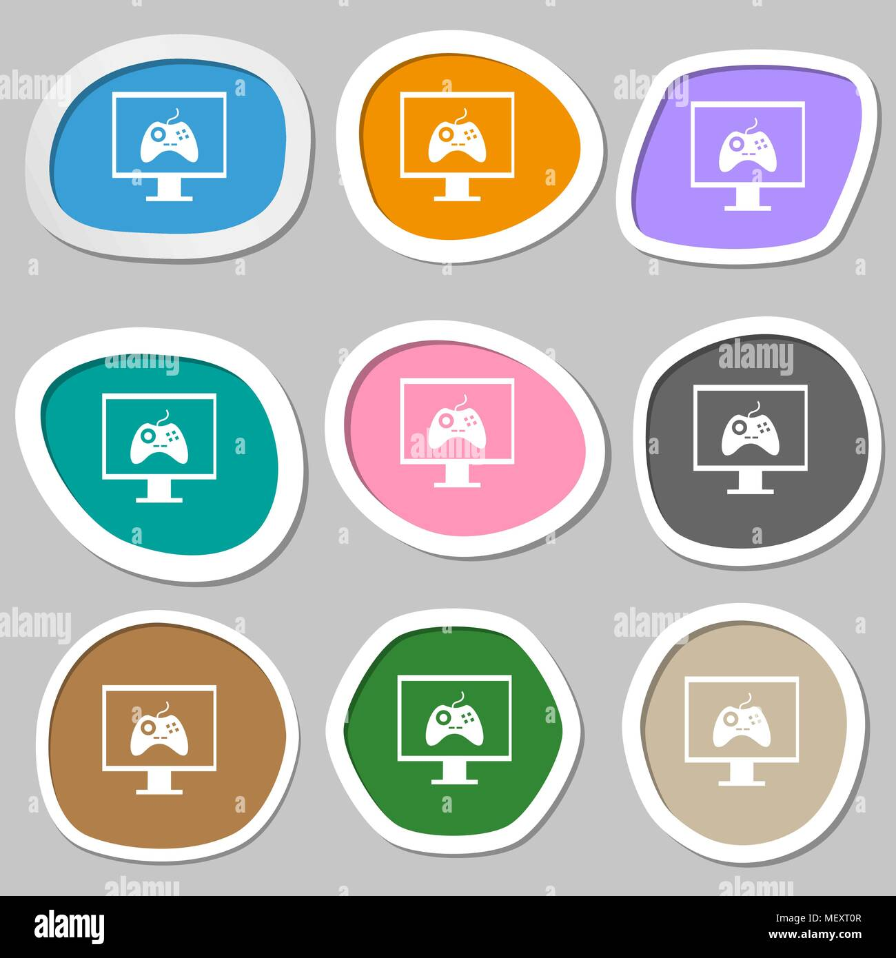 Joystick and monitor sign icon  Video game symbol