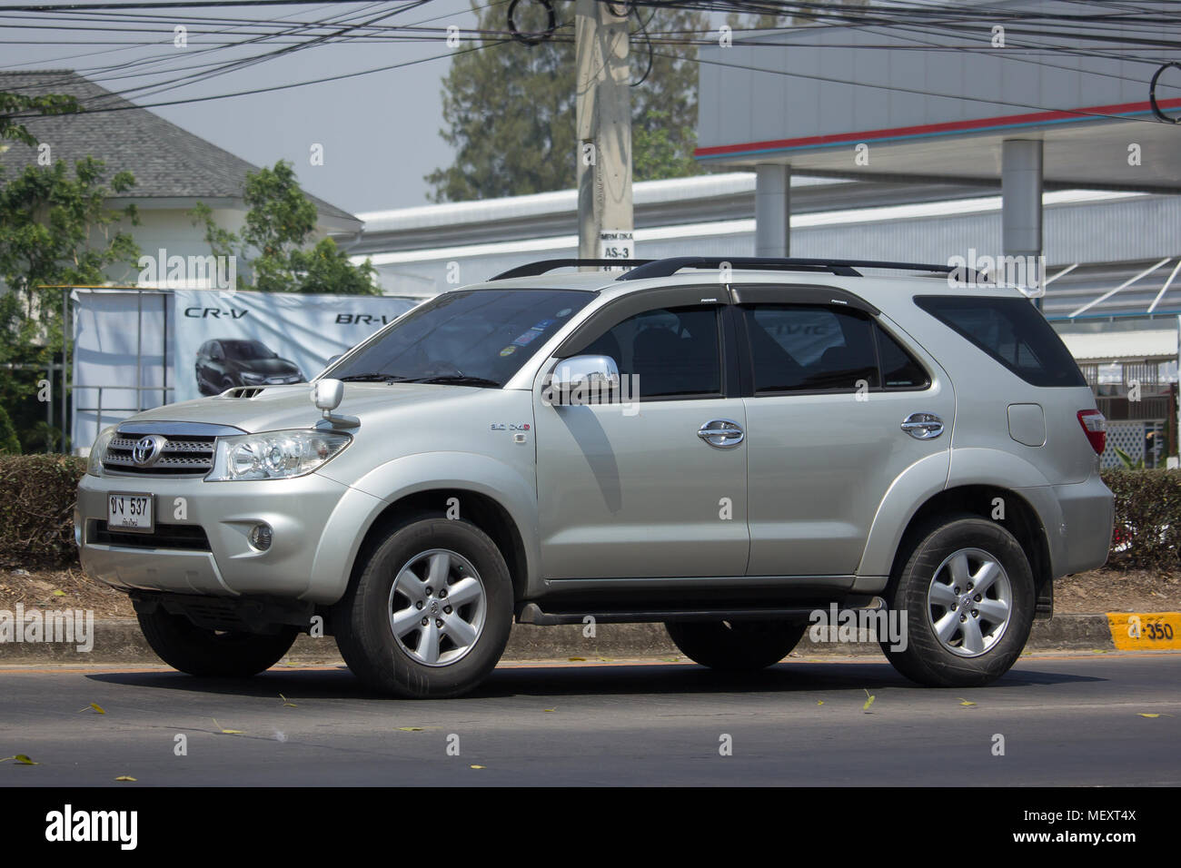 CHIANG MAI, THAILAND  MARCH 27 2018: Private Toyota Fortuner Suv Car. On  Road No.1001 8 Km From Chiangmai City.