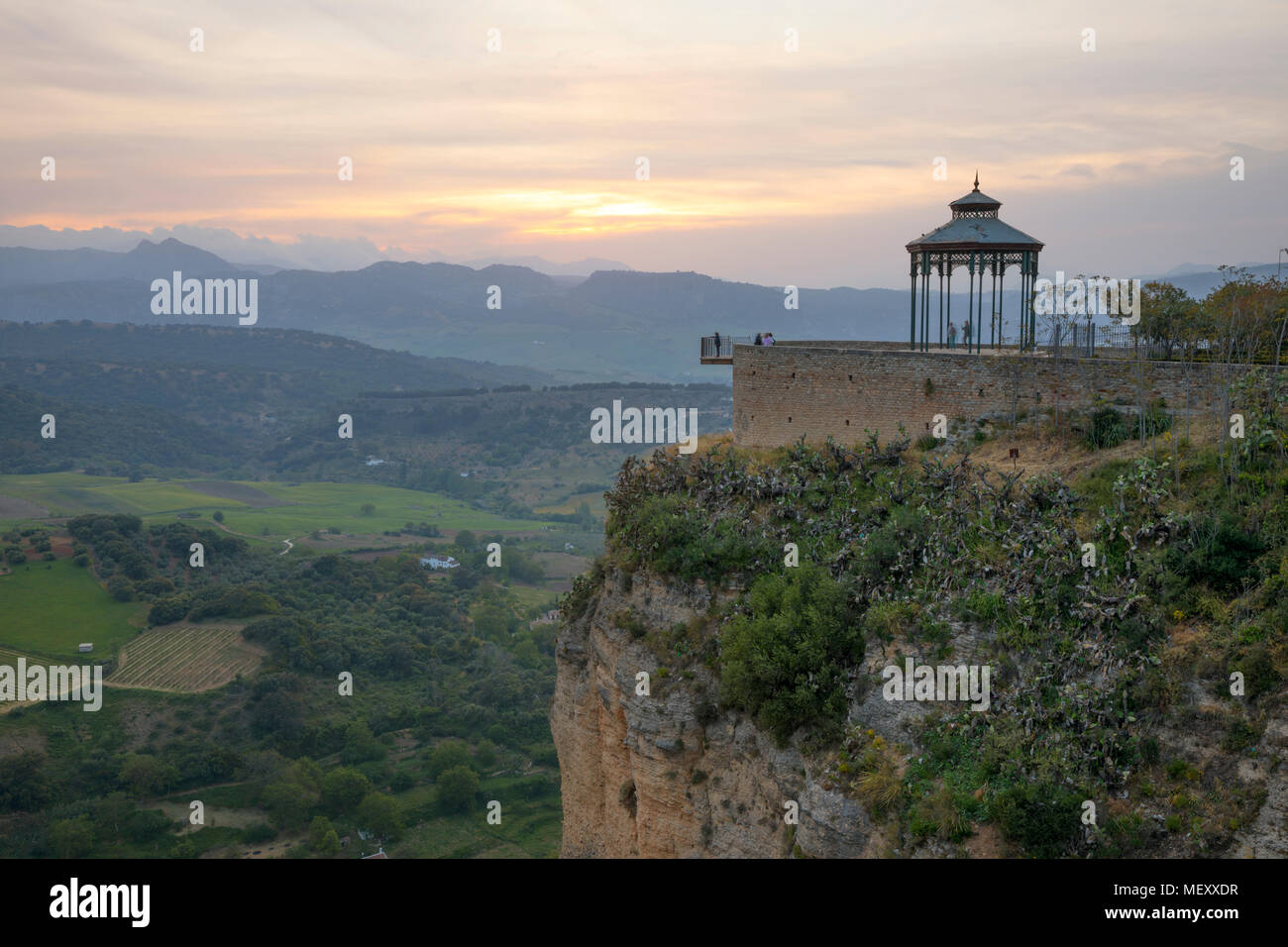 Mirador de Ronda at sunset with view over the mountains of Sierra de Grazalema, Ronda, Andalucia, Spain, Europe Stock Photo