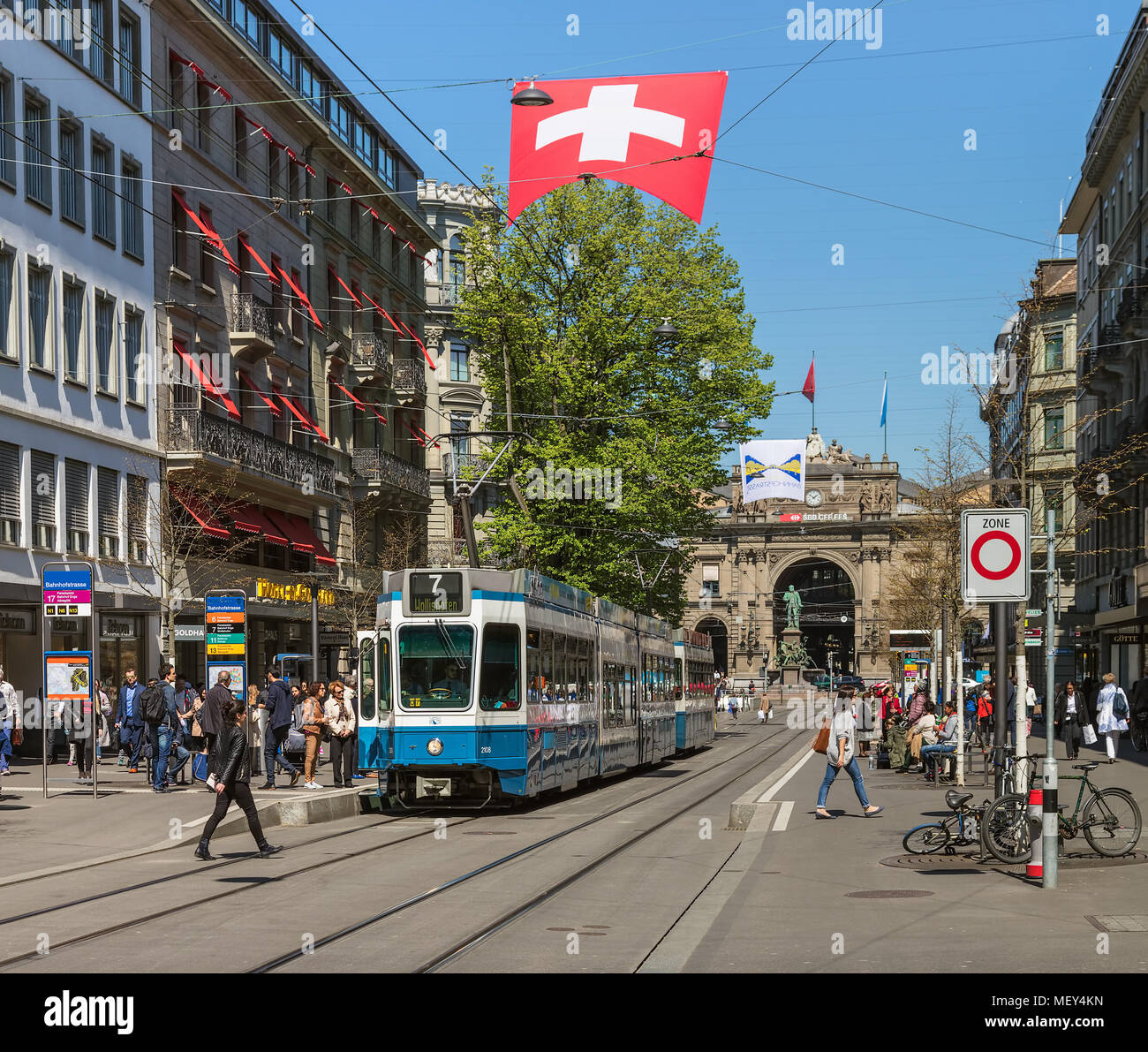 Zurich, Switzerland - 20 April, 2016: a tram on Bahnhofstrasse street. Trams make an important contribution to public transport of the city of Zurich  - Stock Image