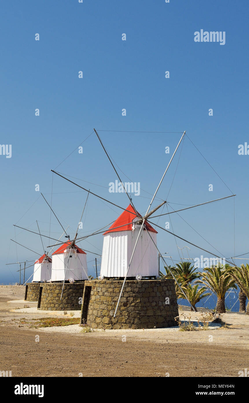 Windmills from Porto Santo Island, Madeira Stock Photo