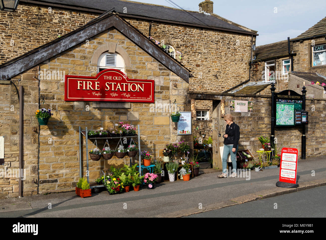 Woman visiting the Old Fire Station in Skipton, North Yorkshire, UK ...