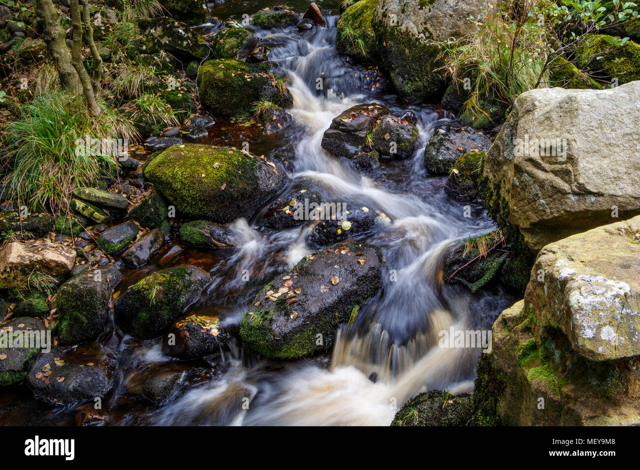 Water folwing over rocks in a small beck in the North Yorkshire Dales, UK. - Stock Image