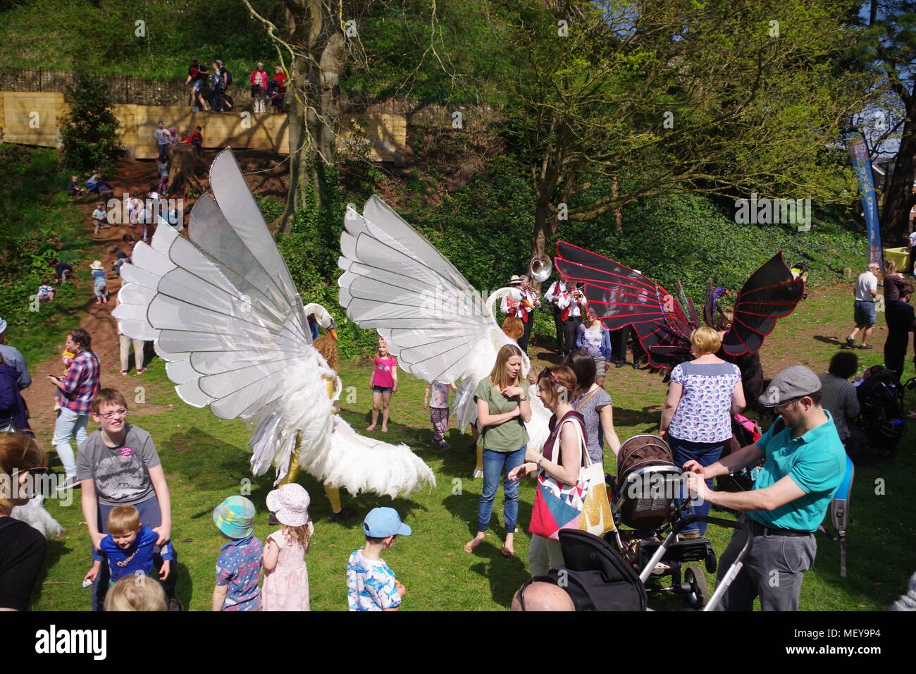 Kinematic Swan Puppet Procession in Rougemont Gardens for ramm's Carnival of the Animals Anniversary. Exeter, Devon, UK. April, 2018. - Stock Image