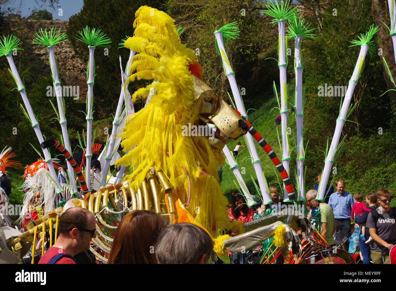 Golden Kinetic Lion Puppet at ramm's Carnival of the Animals Anniversary. Rougemont Gardens, Exeter, Devon, UK. April, 2018. - Stock Image