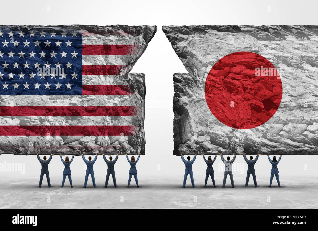 Japan United States success as business people holding up heavy rock  objects with national flags as a Japanese and American cooperation. a9f02f8d1b86