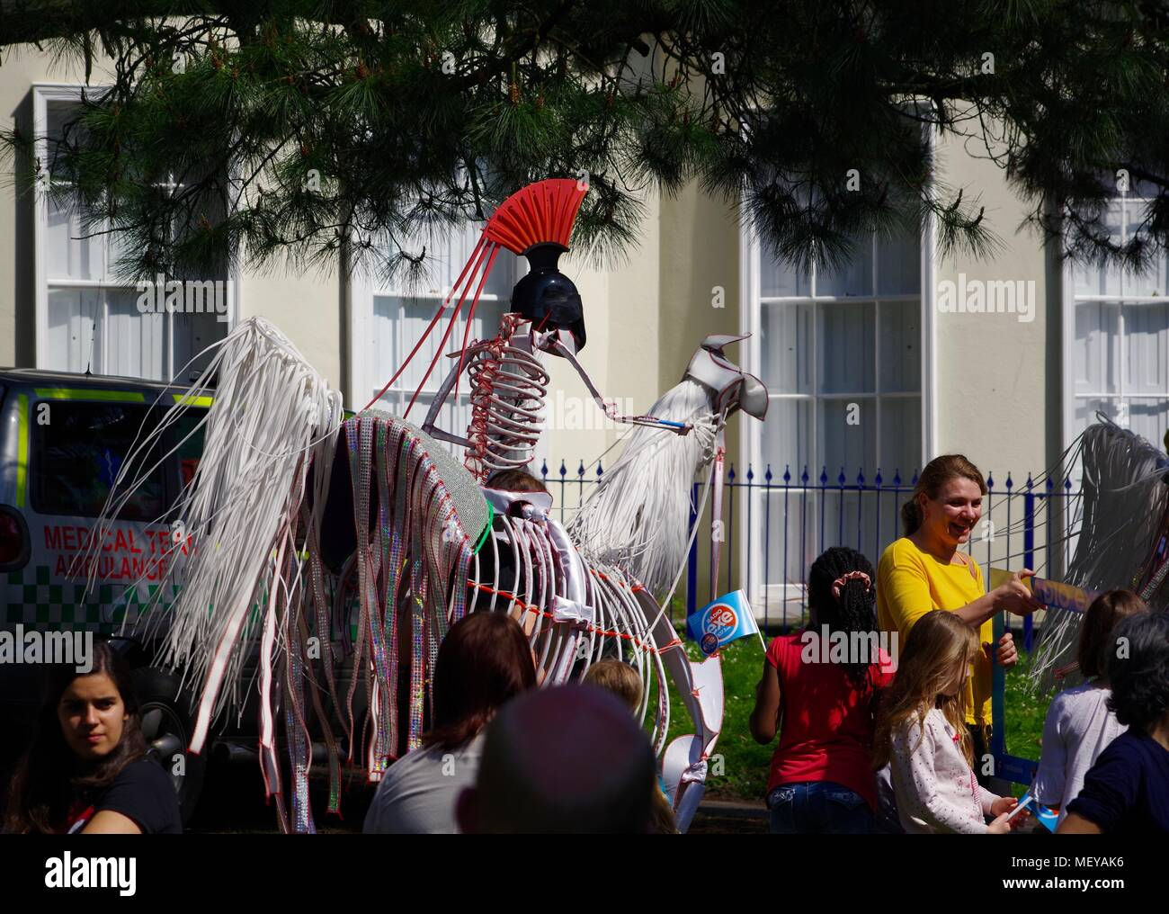 Horse and Rider Skeleton Puppet at ramm's Carnival of the Animals in Rougemont Gardens. Exeter, Devon, UK. April, 2018. - Stock Image