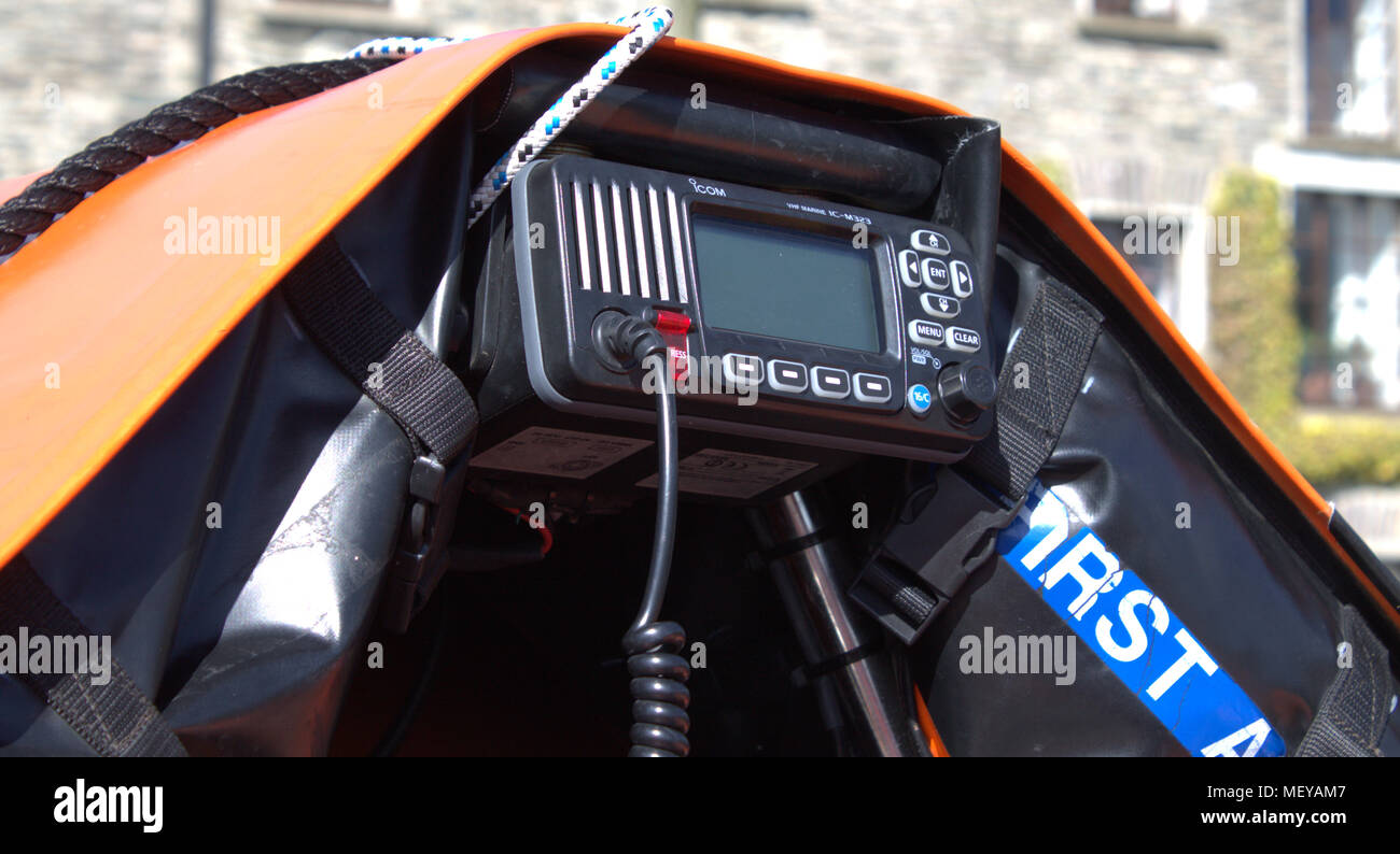 Icom's IC-M323 VHF marine tranceiver fitted to the irish coast guards d class inflatable inshore rescue boat. - Stock Image