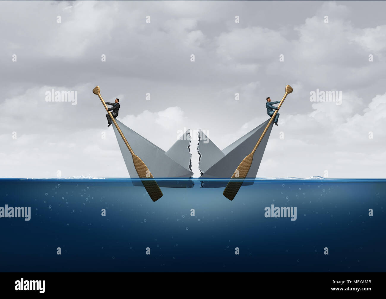 Business separation and business disagreement as two opposite sides divide a paper boat as a metaphor for opposing directions. - Stock Image