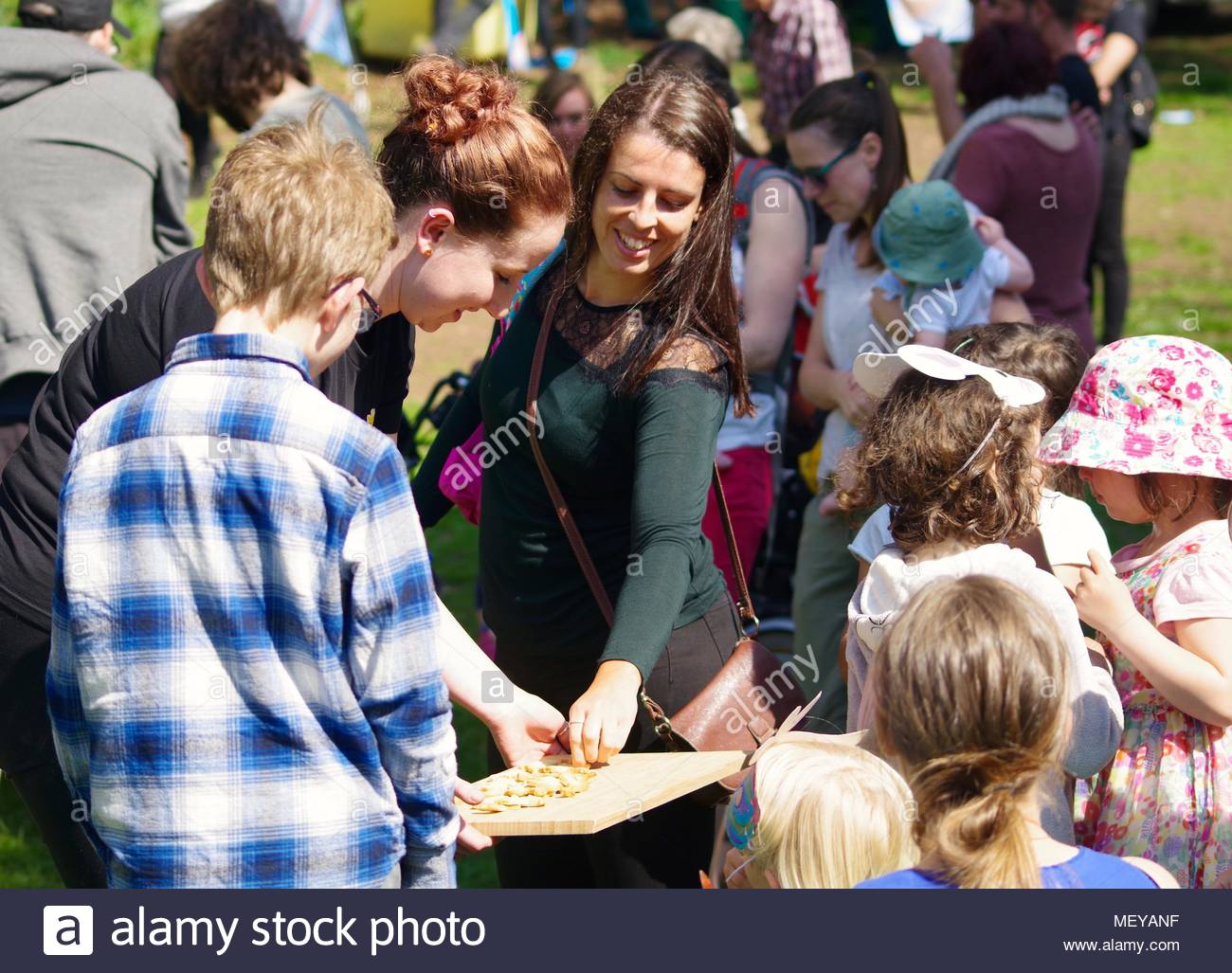 Cookie Tray Free Snacks at ramm's Carnival of the Animals Anniversary in Rougemont Gardens. Exeter, Devon, UK. April, 2018. - Stock Image