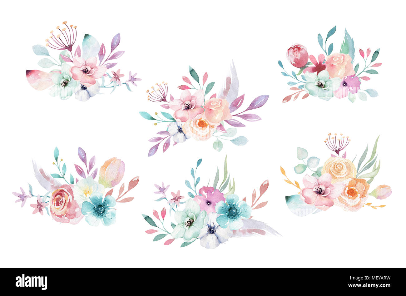 Set Of Watercolor Boho Floral Bouquets Bohemian Natural Frame Leaves Feathers Flowers Isolated On White Background Artistic Decoration Illustrat