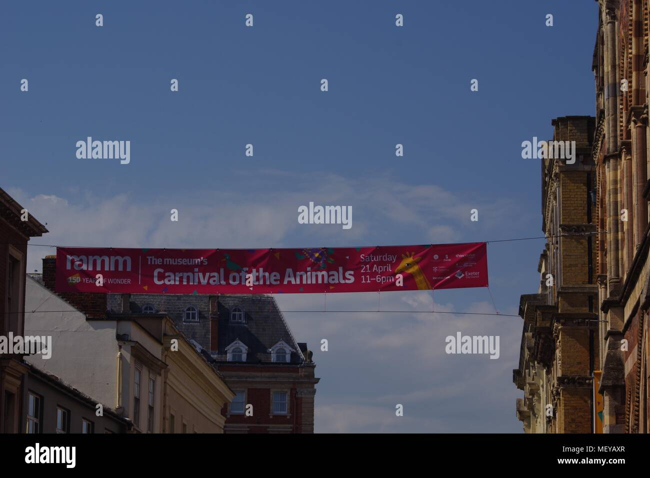 Event Banner Advert for ramm's Carnival of the Animals over Exeter Queen's Street. Devon, UK. April, 2018. - Stock Image