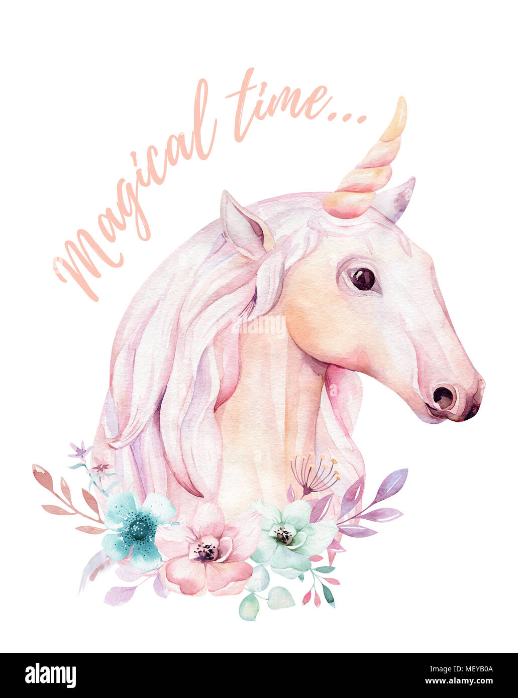 Isolated Cute Watercolor Unicorns Clipart With Flowers Nursery