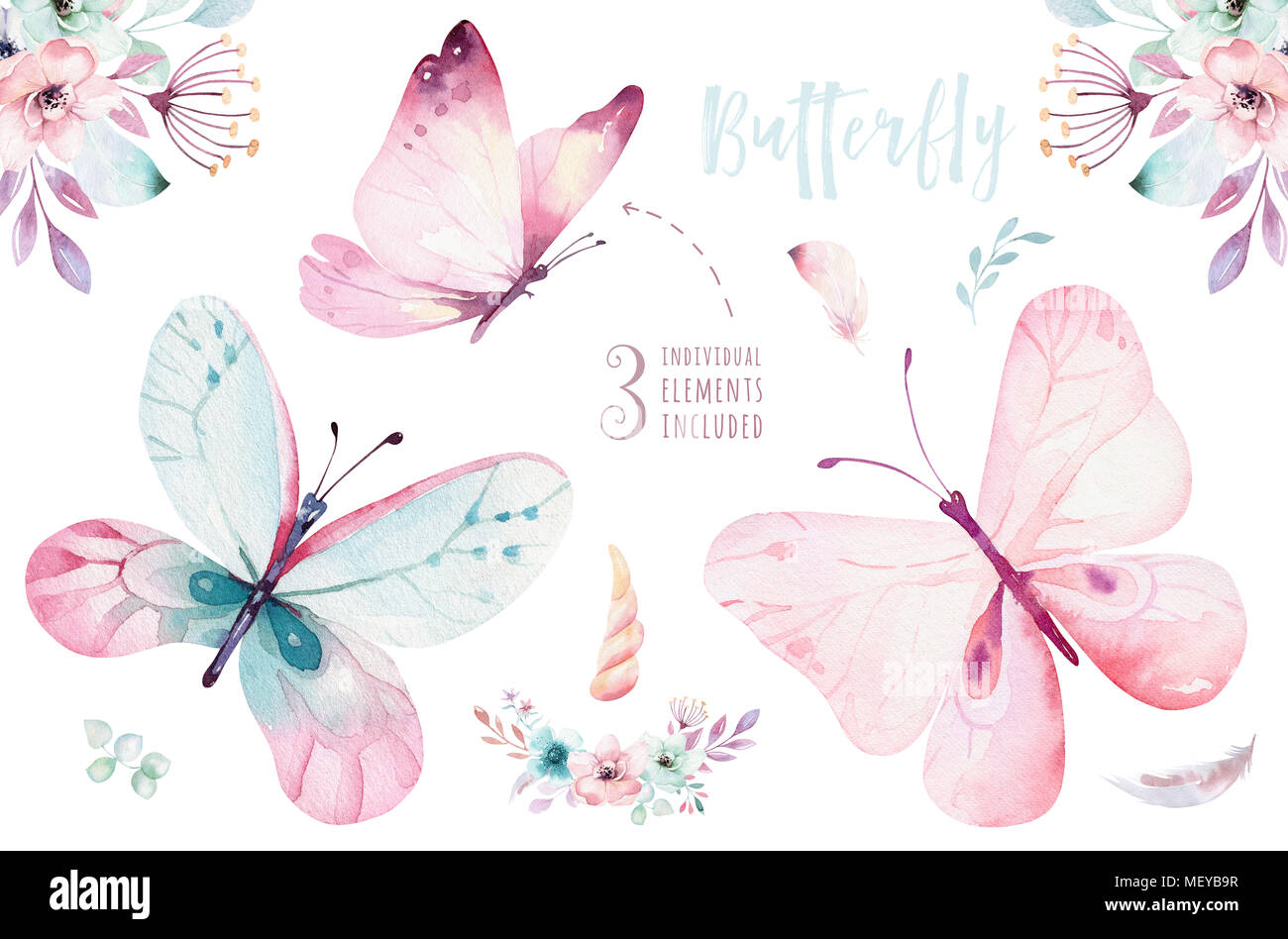 Watercolor colorful butterflies, isolated on white background. blue ...