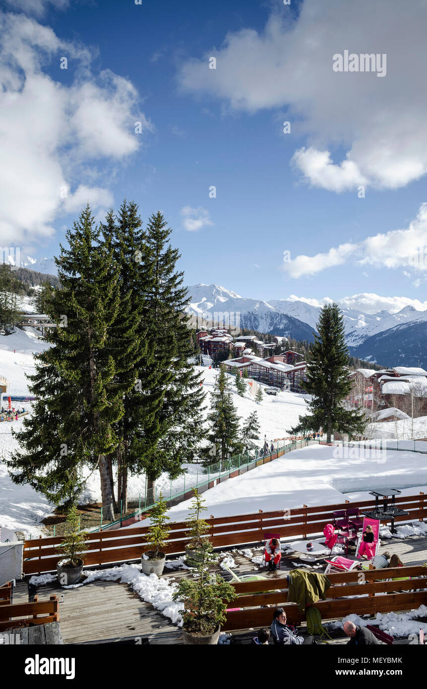 les arcs french alps ski resort and mountains view near bourg saint maurice in france - Stock Image