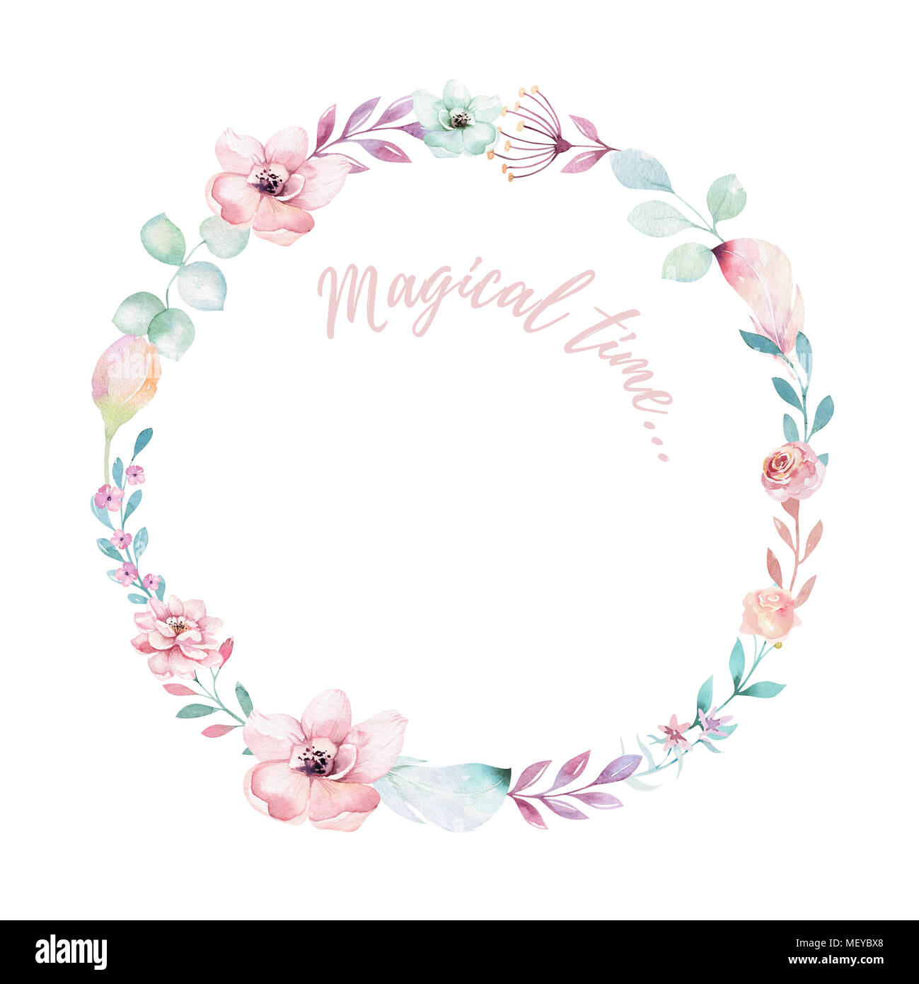 Watercolor boho floral wreath. Bohemian natural frame: leaves ...