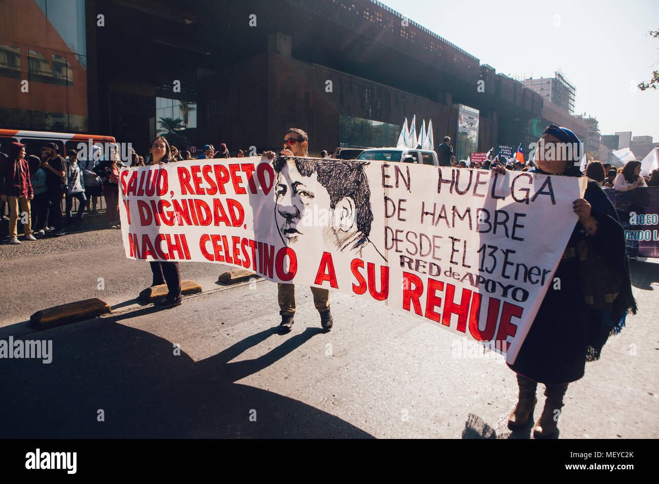 """Santiago, Chile - April 19, 2018: Banner in favor of """"Machi"""" Celestino Cordova, Mapuche indigenous leader, who is hunger strike. Chileans marched thro Stock Photo"""