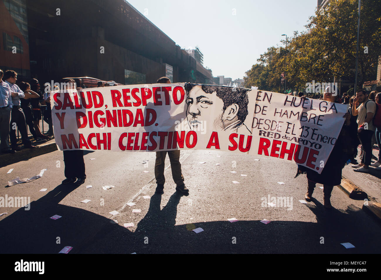 Santiago, Chile - April 19, 2018: Banner in favor of 'Machi' Celestino Cordova, Mapuche indigenous leader, who is hunger strike. Chileans marched thro - Stock Image