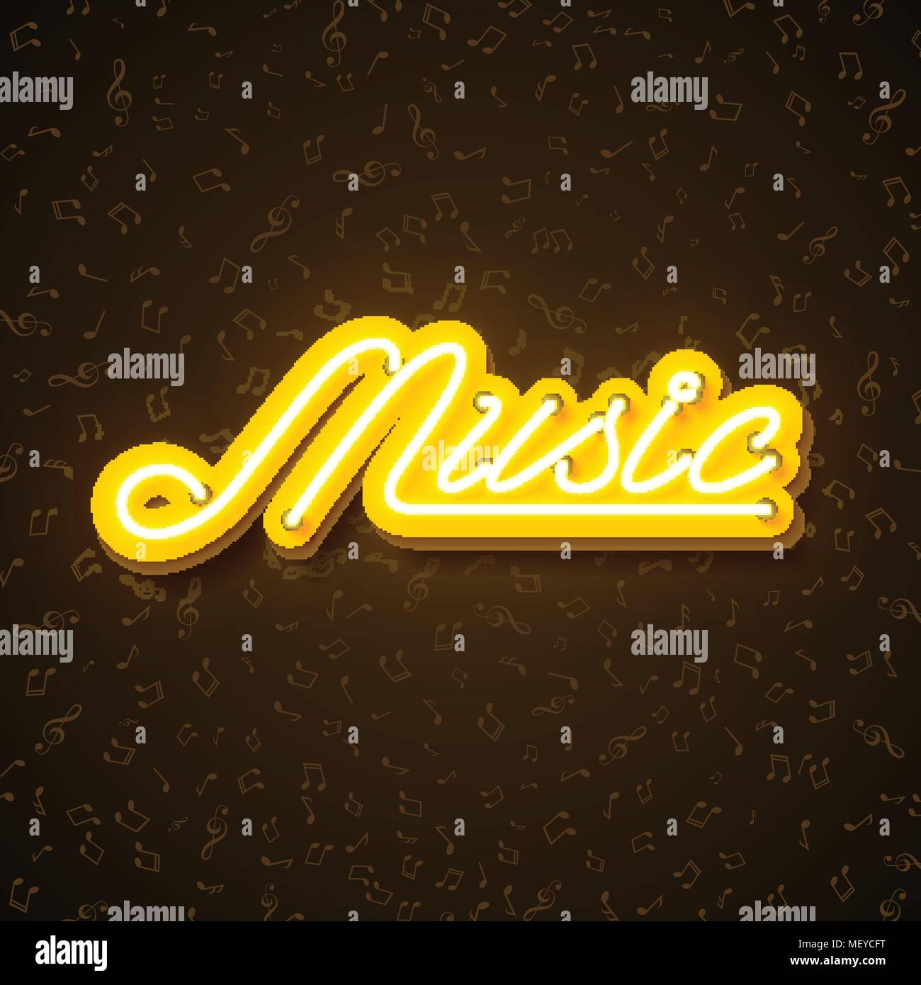 music illustration with neon sign shiny signboard letter on note