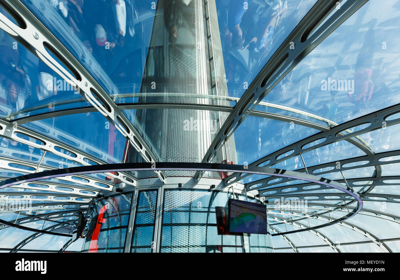 Brighton, United Kingdom - AUGUST 1, 2017: Spire of British Airways i360 observation tower in Brighton, reflections of visitors inside the capsule - Stock Image