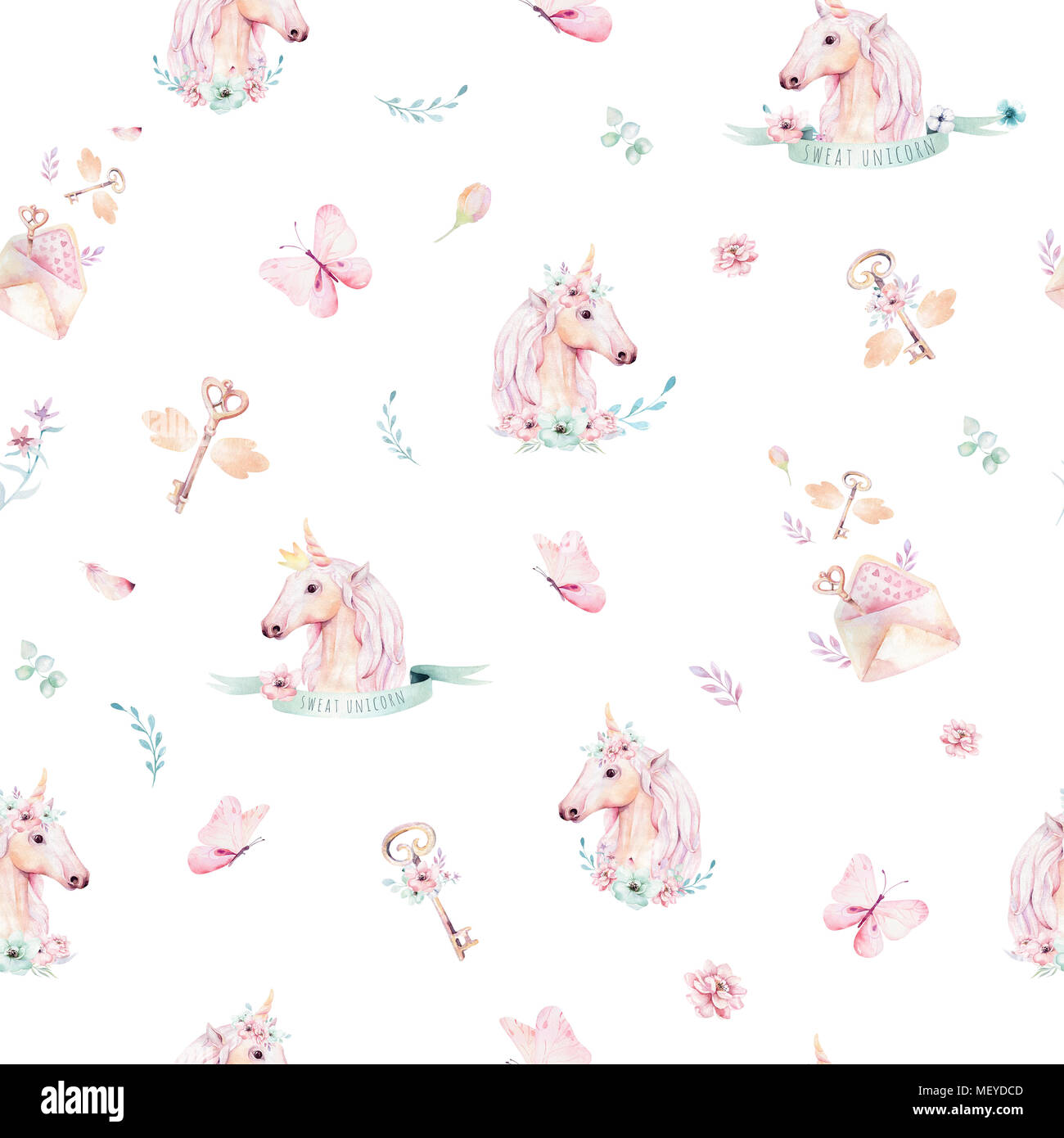 Cute Watercolor Unicorn Seamless Pattern With Flowers Nursery