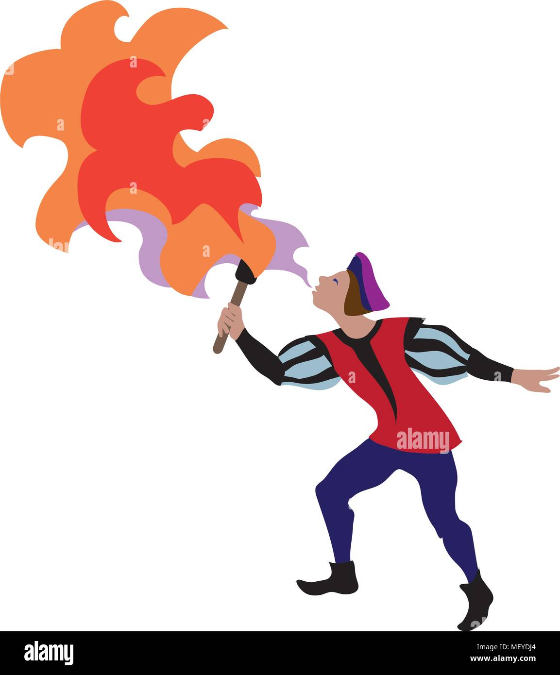 Medieval cartoon character of fire-breather in european middle ages or medieval period historic period persons. Vector illustration of renaissance fai - Stock Image