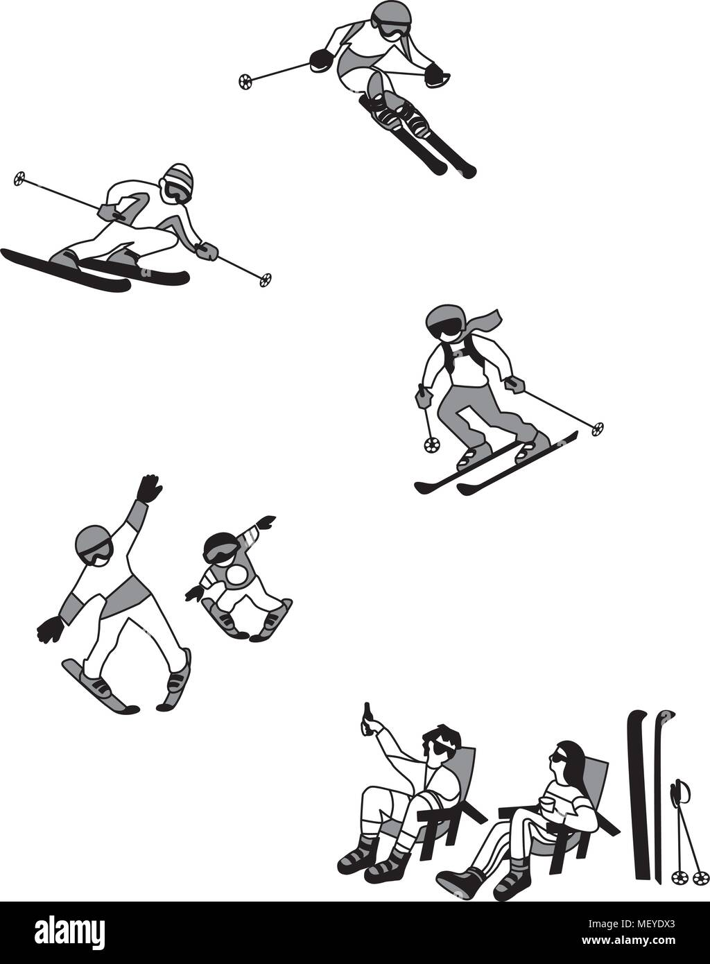 Vector Illustration Of Alpine Skiing Winter Sport Characters Set Of Simple Comic Drawing Stock Vector Image Art Alamy
