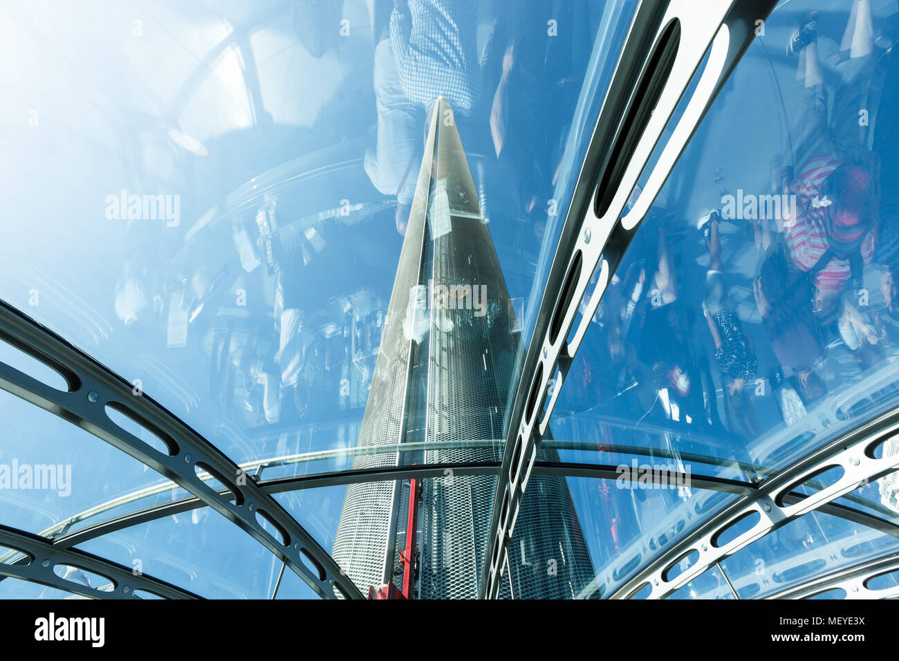 Spire of British Airways i360 observation tower in Brighton, reflections - Stock Image