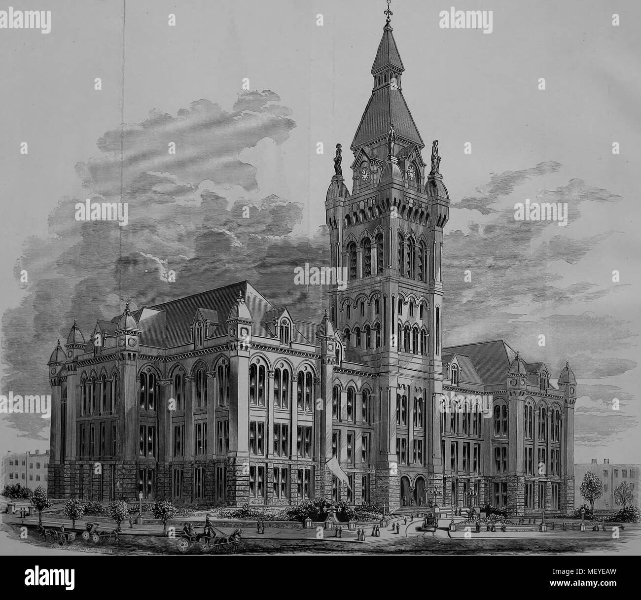 Engraving of the city hall building, Buffalo, New York, 1876. Courtesy Internet Archive. () - Stock Image