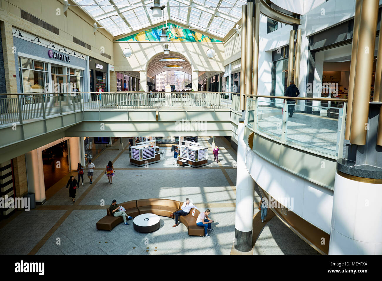 Atlanta capital of the U.S. state of Georgia, interior of Lenox Square a upscale shopping centre mall with well known brand name stores on Peachtree R - Stock Image