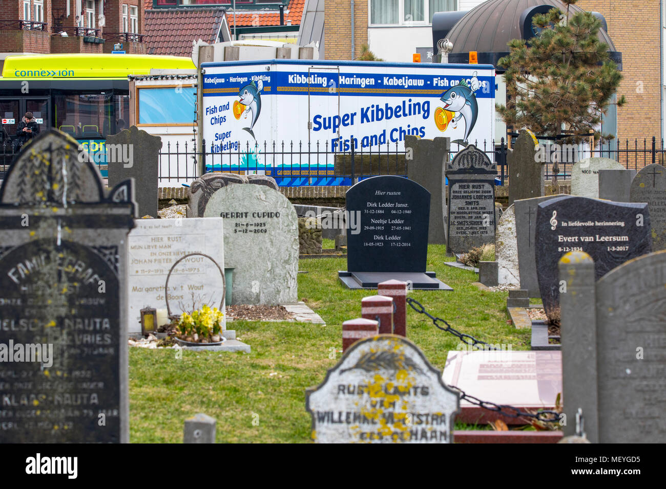 Fast food, Snack stall, fish stall, kibbeling, directly at the cemetery in the coastal village, Wijk aan Zee, in North Holland, the Netherlands, Julia - Stock Image
