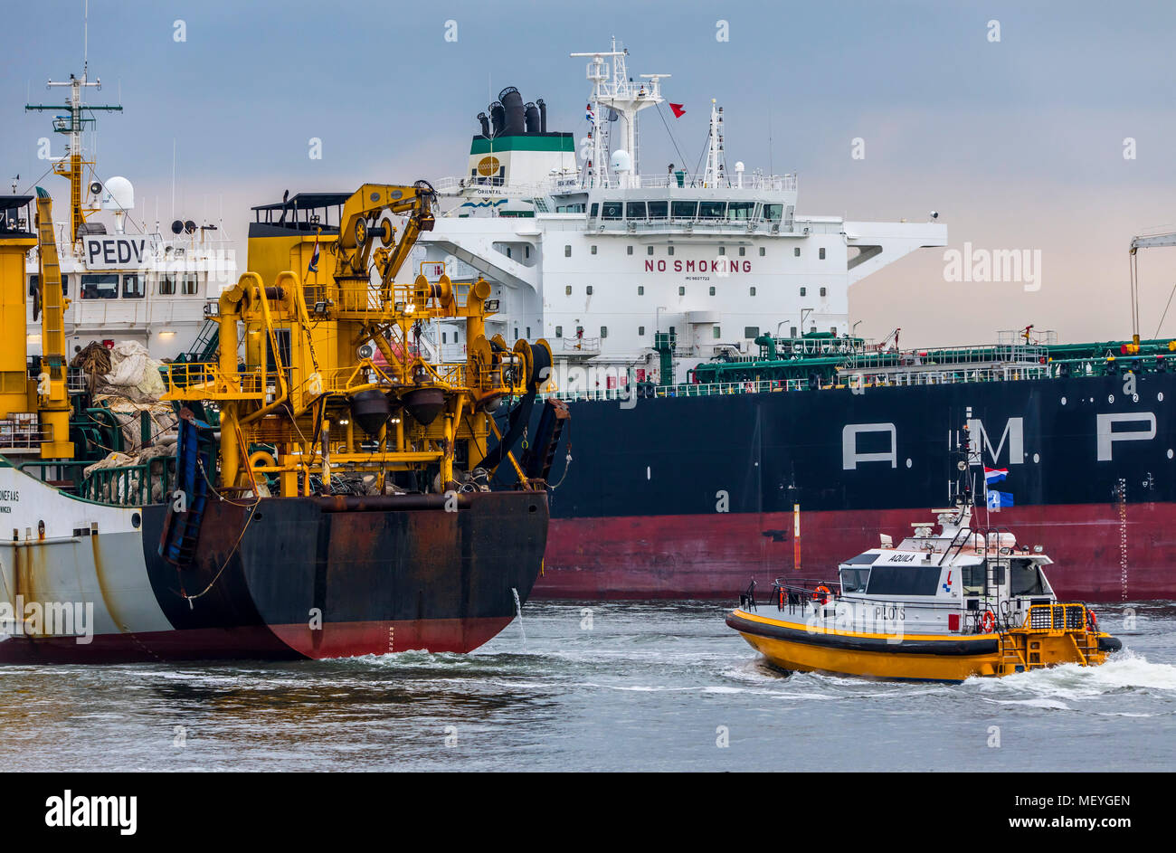 Crude oil tanker A.M.P.T.C-Sea Jewel, enters the port of Ijmuiden, in North Holland, Netherlands, harbor tug, fish trawler Frank Bonefaas, runs out of - Stock Image