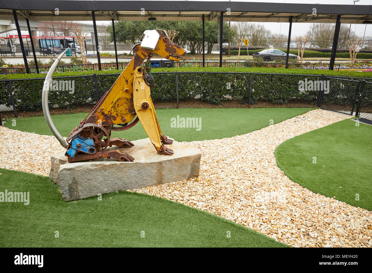 Atlanta capital of the U.S. state of Georgia, Hartsfield-Jackson International Airport dog park with dog statue - Stock Image