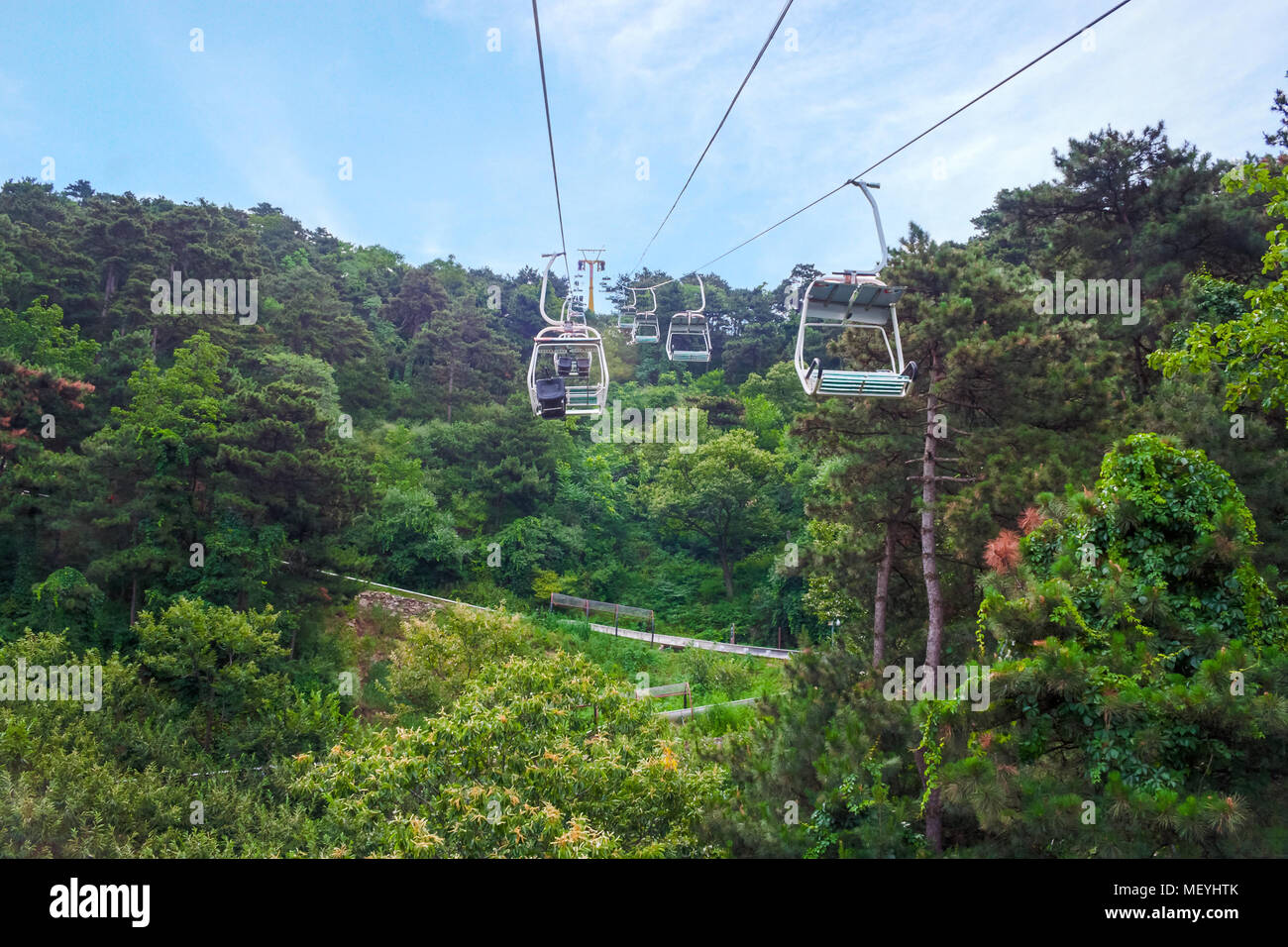 Cableway Up To The Great Wall At Mutianyu. China. - Stock Image