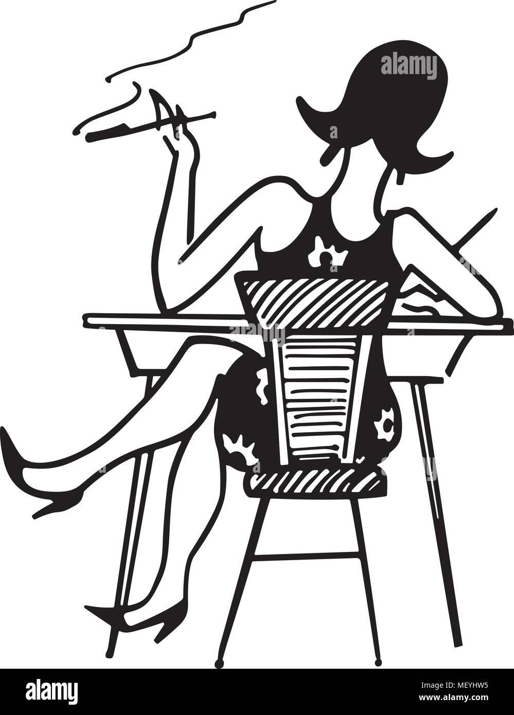 Bürotisch clipart  Gal Working At Desk - Retro Clipart Illustration Stock Vector Art ...